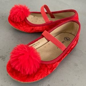 Cat and Jack, girls, red Mary Jane shoe. Pom-Pom